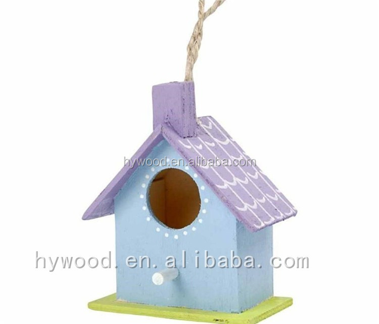 colorful house shape painting shabby chic washed antique vintage aged old wooden bird wall decorations with hemp rope handle