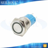 Metal light silver maintained momentary ring illuminated push button led switch