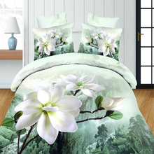Made in China White flowers design ribbon embroidery bedding set