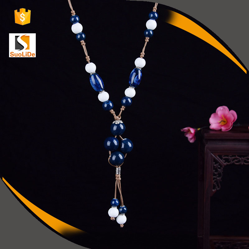Yiwu description ceramic bead indian jewelry set necklace