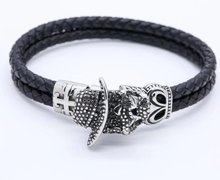 High Quality North Skull Engraved Stainless Steel Braided Leather Mens Bracelet