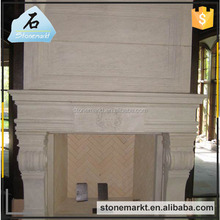 Decorative luxury hand carved well polished indoor yellow sandtsone fireplace