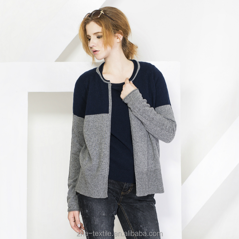100% Cashmere Women Knitting Sweater buttonless cardigan