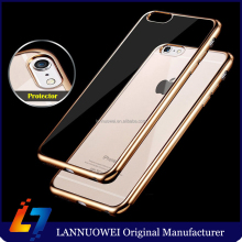 Luxury Ultra Thin Clear Crystal Rubber Plating Electroplating TPU Soft Mobile Phone Case For iPhone 6 6s Plus Cover bag