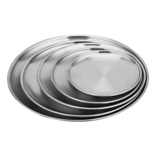 new design wedding serving <strong>plate</strong> round stainless steel mirror metal korean style bbq dish party catering serving tray