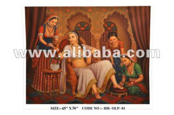 Handmade Oil canvas Painting Art Gallery India Artist Indian Queen Royal Palace Antique Vintage