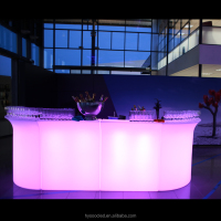 Wholesale outdoor 3.4m Long LED night club Bar counter design,Cordless home Bar LED furniture with smart control