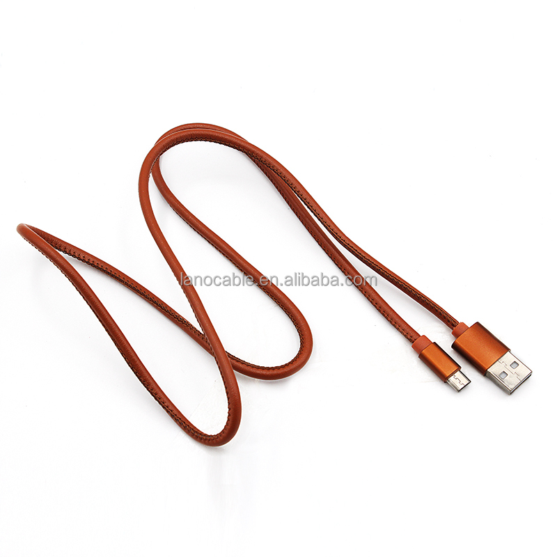 1.5m Red 20AWG 2A high speed charging leather jacket Phone accessories usb to micro usb cable