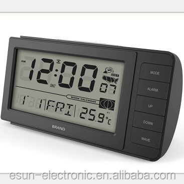 Newest clear high solution display DCF radio controlled digital desktop table alarm weather station clock
