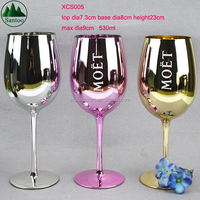 530ml Custom Drinkware Glittery Color Electroplate Titanium Wine Glasses