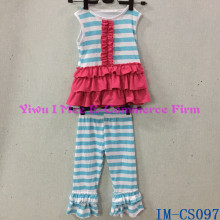 Hot Sale Girls 100% Cotton Clothing Sets Super Soft Toddler Kids Blue Stripe Pants Outfit Sets with Ruffles IM-CS097
