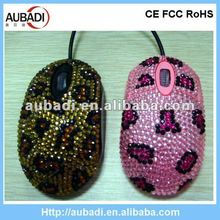 Magic promotional gift crystal rhinestone wired optical mouse