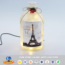 2017 new large beautiful glass jar decoration with LED light