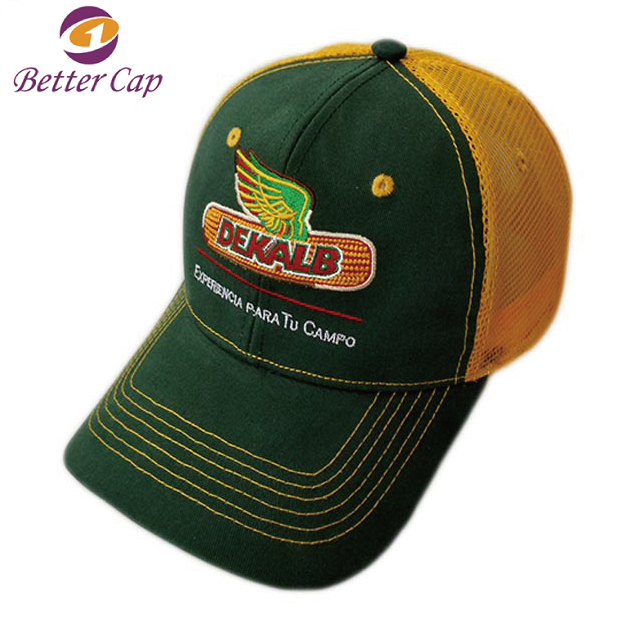 custom logo embroidery 6 panel mixed colors cotton mesh trucker cap