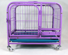 2017 New Product Strong Foldable Stainless Steel Dog Cage With Wheel / Metal Small Animals Pet Cage