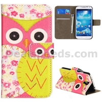 Folio Side Cute Flowers and Owl Pattern Stand Wallet Style PU Leather Cases for Samsung Galaxy S4