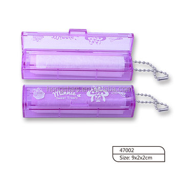 New item mini tube shape plastic case with chain facial oil absorbing paper for beauty use