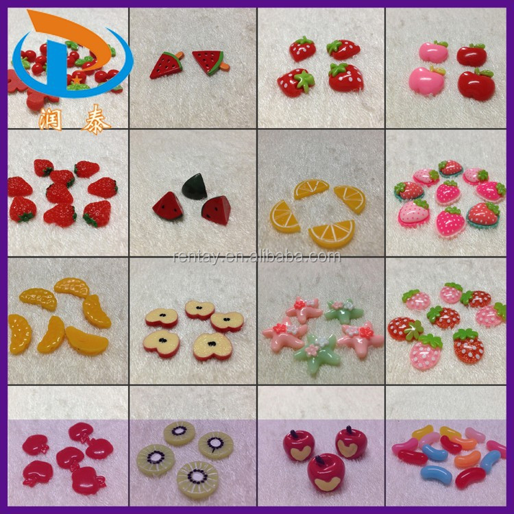 Mixed Color Phone Accessories Kawaii Flatback Resin Fruit Cabochons Wholesale