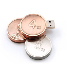 2016 Hot sale Metal Golden Silver Cross pattern round coin shape usb flash drive 8gb