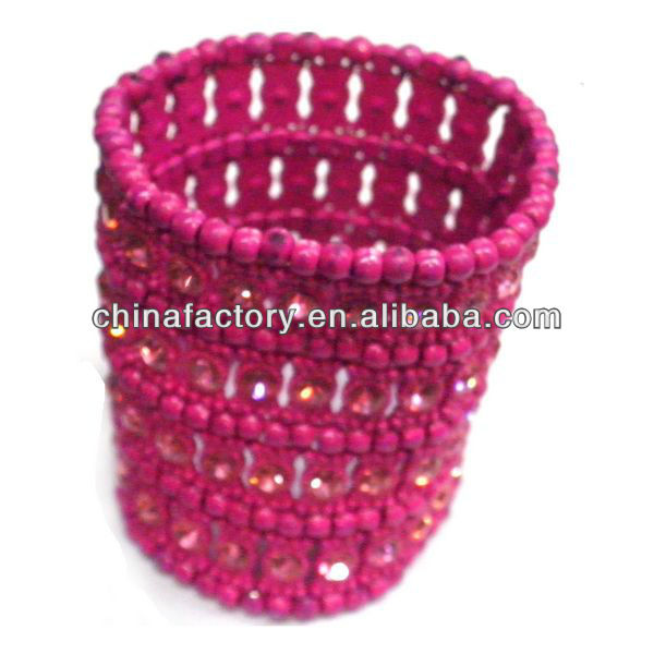 Elastic 3Rows Dark Pink Crystal Women Upper Arm Bracelet