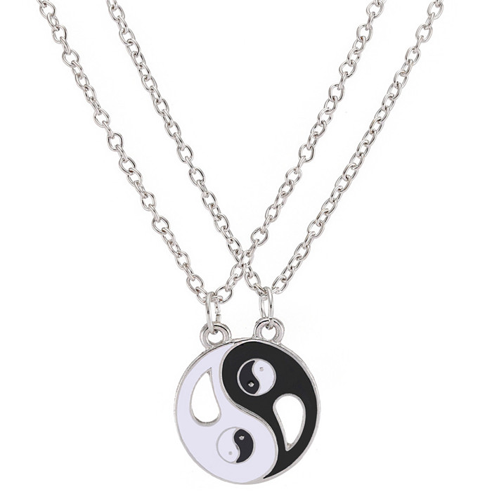 new-designed Pendant Necklaces Eight Diagrams Yin Yang Black and White Best Friends friendship Couples Lover Valentine Gift