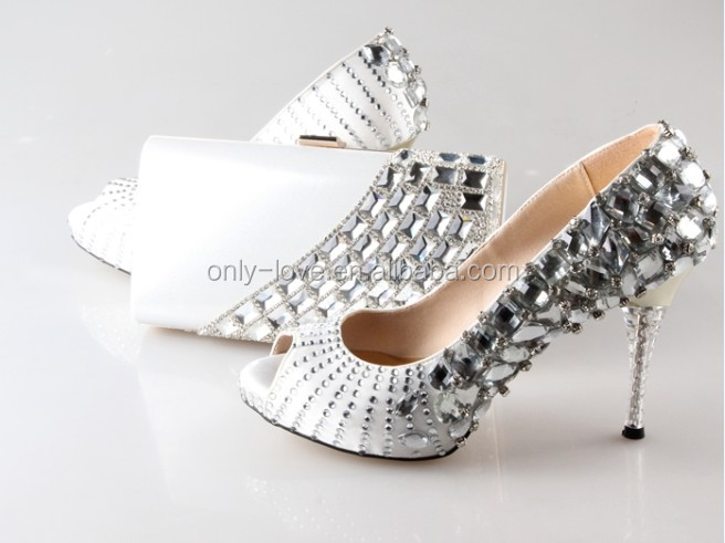 BAS021 Custom Made Rhinestones White Matching Shoes with clutch Bag Set Open Toe Women Wedding Shoes And Evening Bags