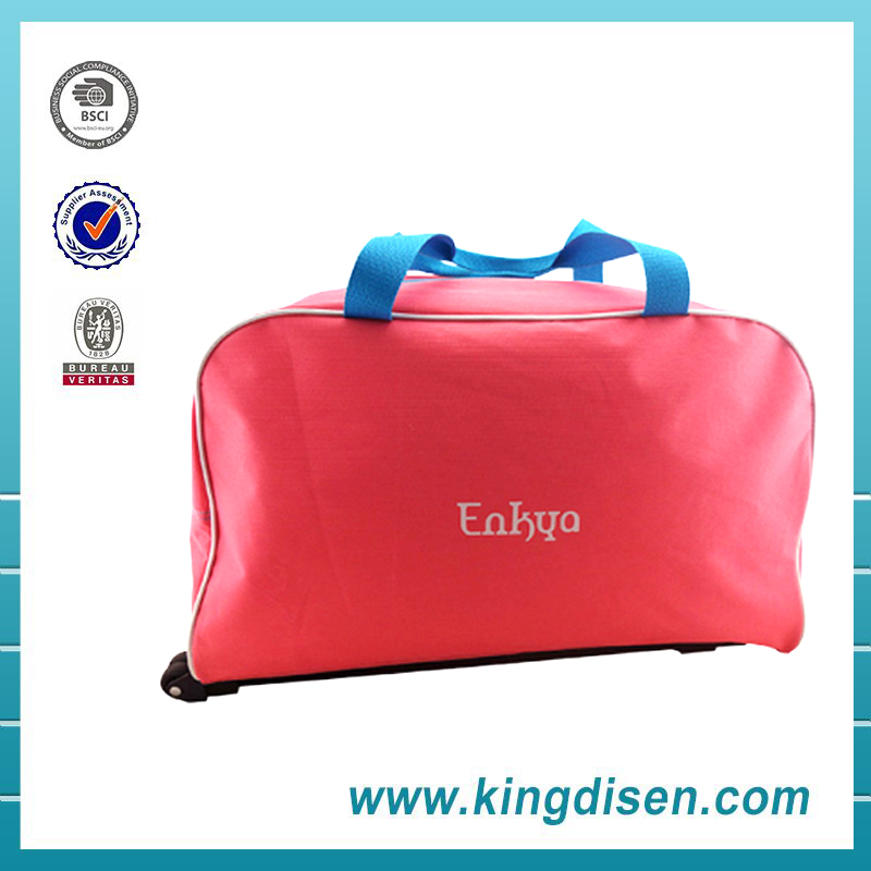 2016 New products pink polyester trolley travel bags with wheels