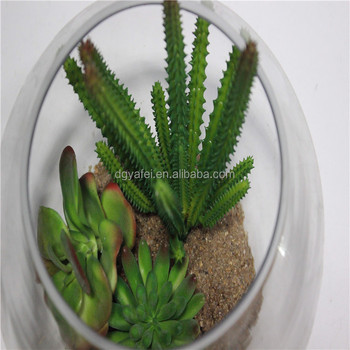 glass bottle fake succulent bonsai for table centerpiece decoration
