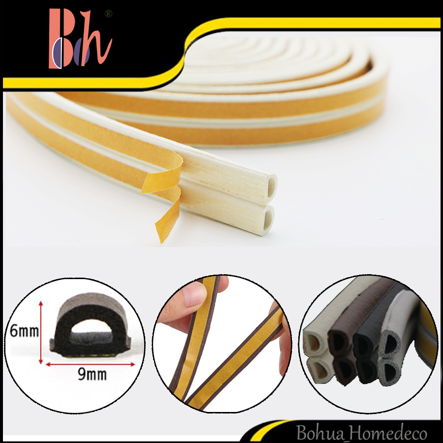 Self-Adhesive D Type EPDM Rubber Foam Sealing Strip Doors Windows Draught Excluder Anti-Collision Sound Insulation Seal Strip