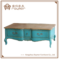 Home Furniture General Use blue Antique 2 drawers French table