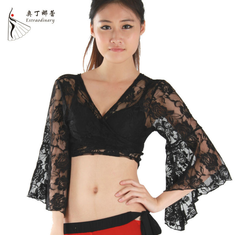 Long sleeve sexy belly dance tops for women