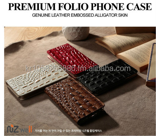 NIZWELL Alli Filp phone case for Samsung Galaxy Note 3 N900 Geniune Cow Leather Embossing Aliigator Skin
