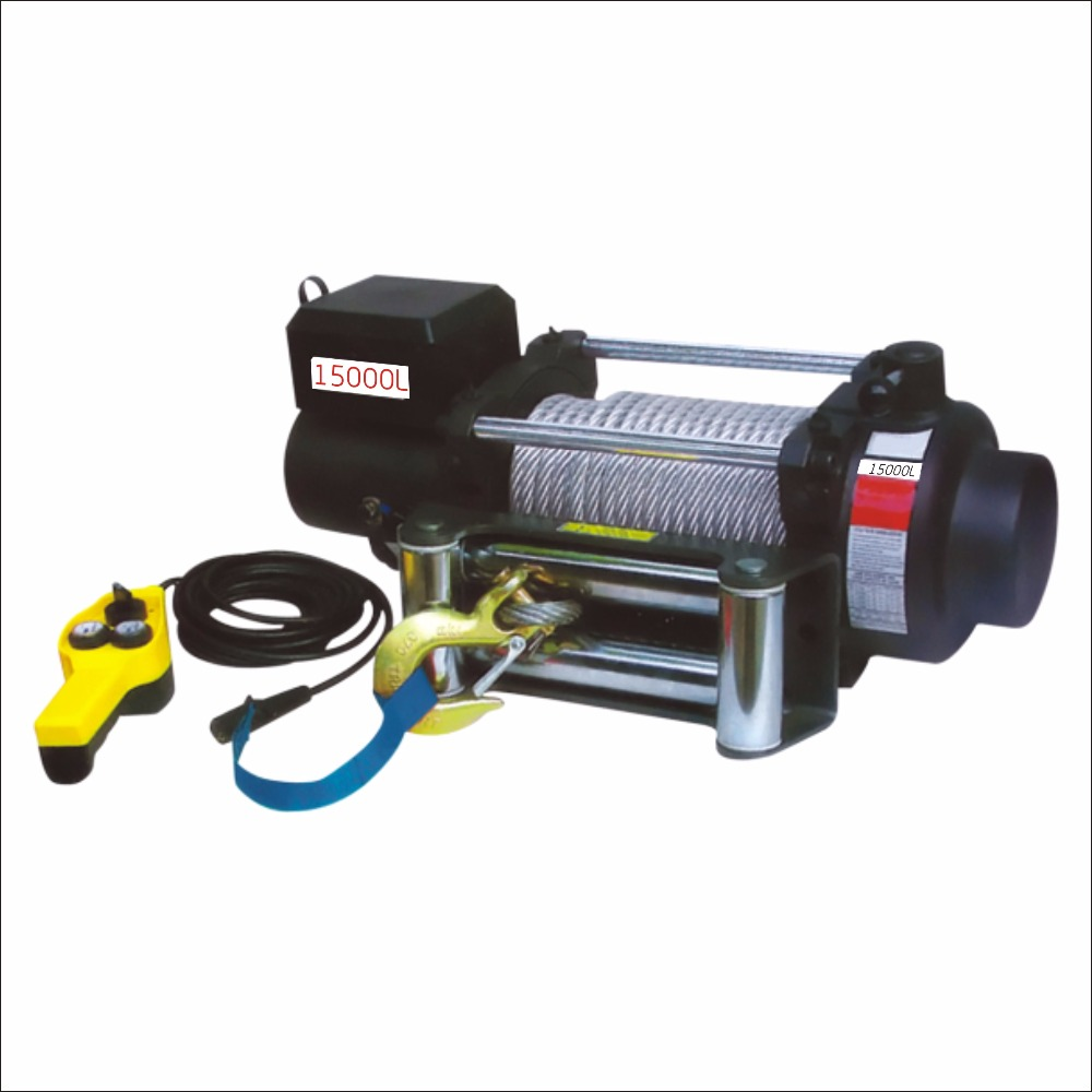 Durable electric cable pulling winch 12000 with remote control