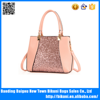 New European fashion big bling bling hand bag pu leather tote handbag for women