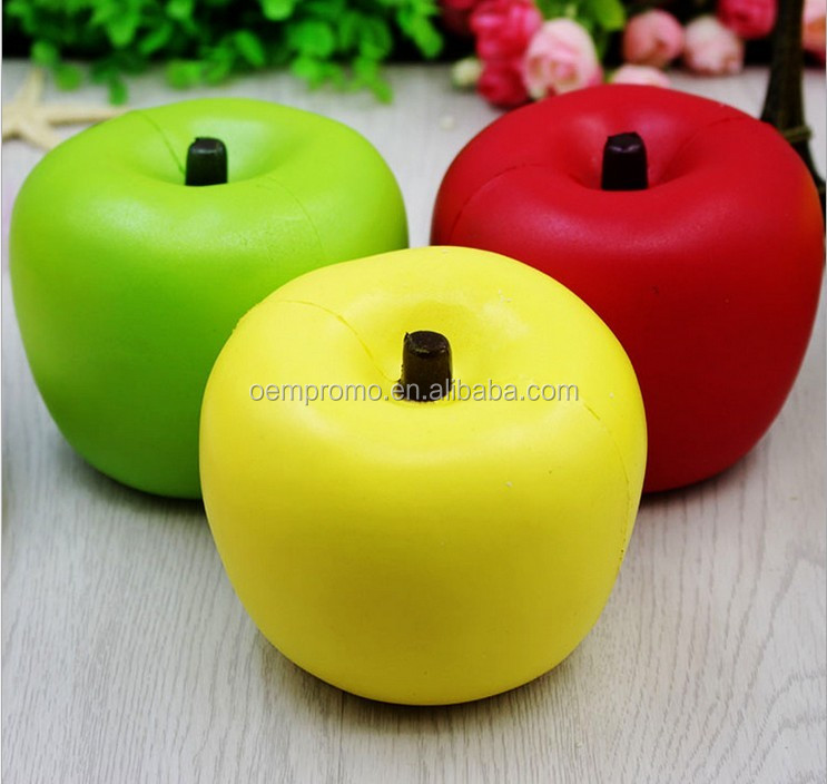 Hot squishy slow rebound PU apple stress ball, Soft kids apple stress ball