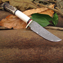 DSK-004 Hot Sell Antler Handle Damascus Straight Knife Hunting Knife
