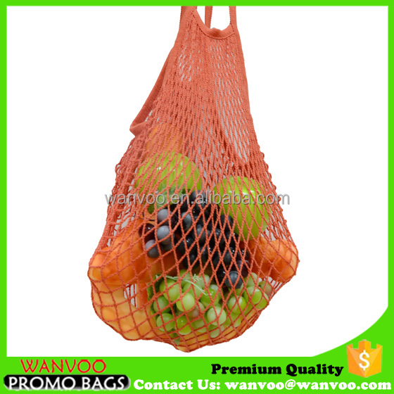 Eco durable cotton net vegetable fruit tote bag customized leisure shopping packing bag with short handle