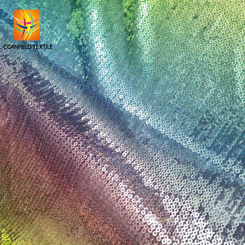 2018 new designs rainbow reflective sequin fabric rainbow tulle