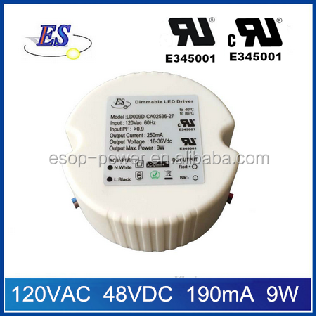 ES 9w 190ma 120vac to 48vdc constant current triac dimmable led driver power supply with UL CUL IP65