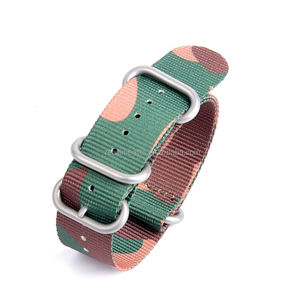 High quality 20mm wide camo custom nylon printed watch strap