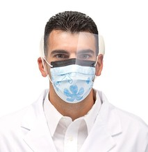 Disposable face mask with eye sheild