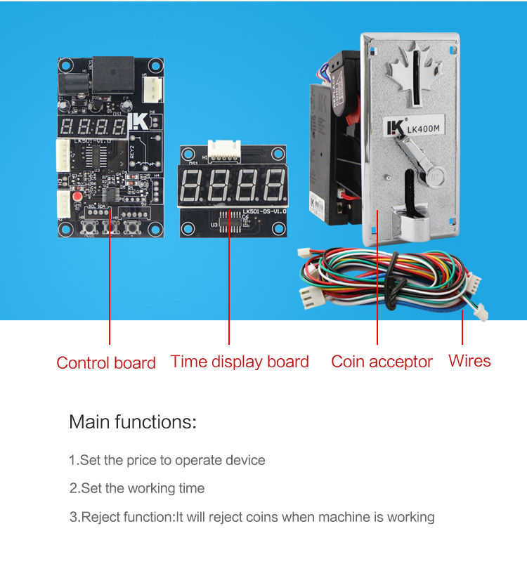 LK501 Coin operated time control board with coin acceptor for cell phone charging station machine