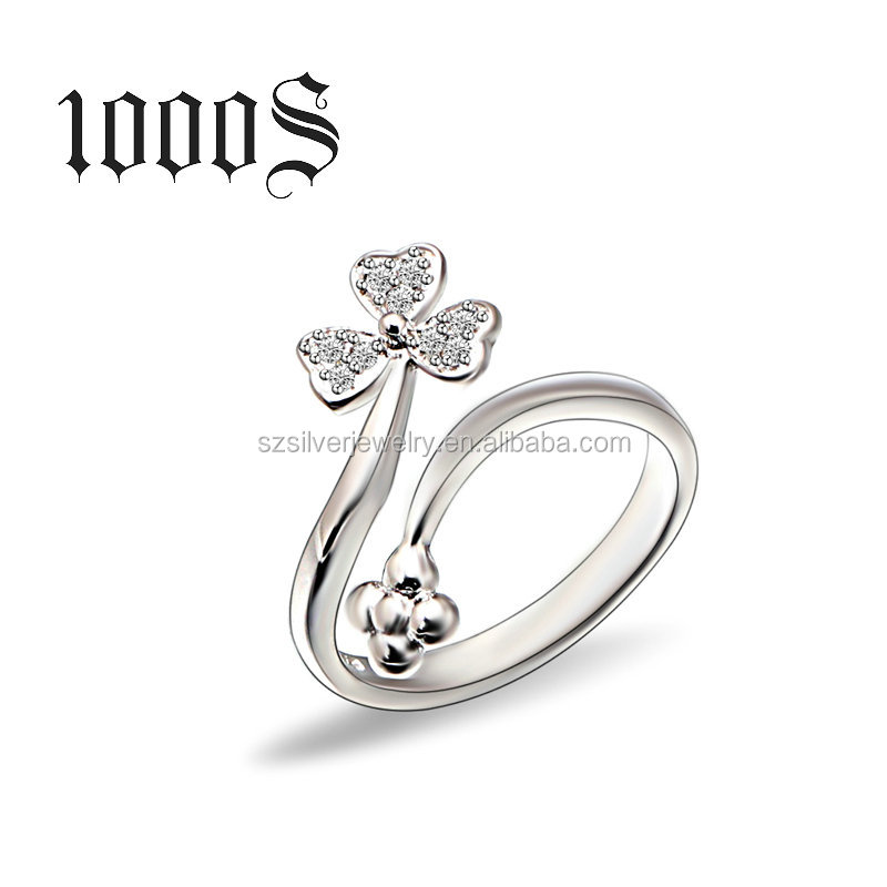 925 Sterling Silver Girl Adjustable Leaf Ring Jewelry Wholesale