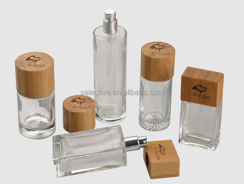 50ml 100ml perfume round and squares spray glass bottles with wood lids
