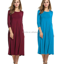 Women's Casual Loose Fit Swing Pleated T shirt Dress 3/4 Sleeve Solid Pattern A-line Flare Midi Tunic Long Dress