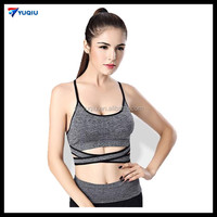 YQ Bra Supplier Wireless Gym Sports Bra Strappy Vest Stringer for Ladies Padded Bras Women Yoga Racerback