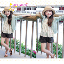factory sales directly Solid thin knitted sweater cardigan for young girl