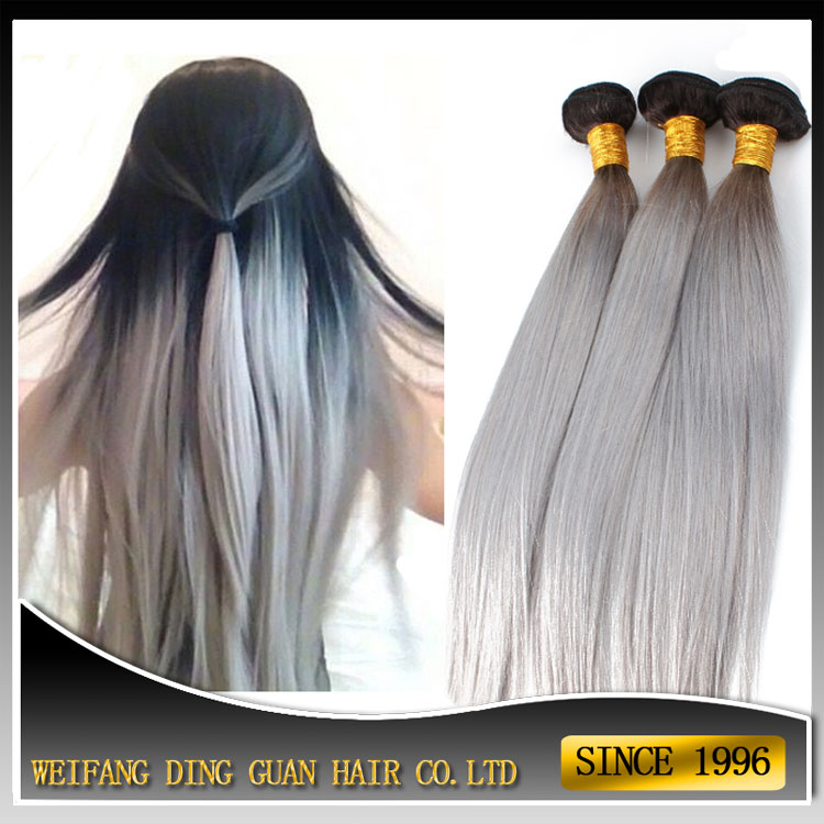 Milky Way Silky Straight Human Hair Weft 1b Silver Two