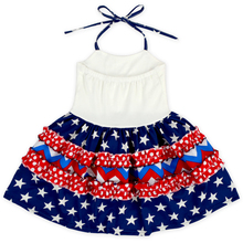 4th Of July Wholesale Newborn Halter Ruffle Girls Dress Baby Girl Frock Designs