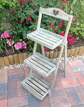 Foldable folding Rustic Wooden 3 Tier Plant flower pot ladder design Stand , Display Step Shop Stall Shabby Chic Wood Shelf